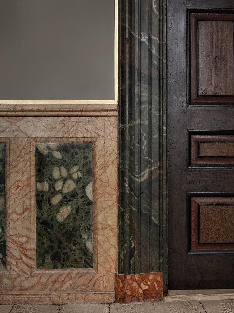 Frederiksberg Castle interior marbled wall after restoration Elgaard Architecture