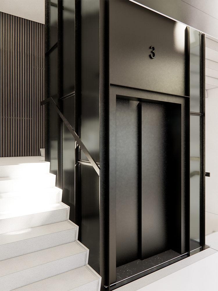 Bredgade 40 Revit visualisering trappe og elevator Elgaard Architecture