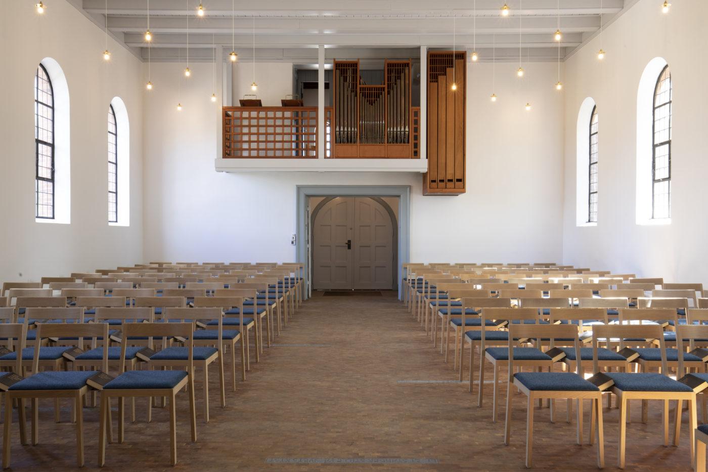 Nyhuse Chapel interior organ Elgaard Architecture