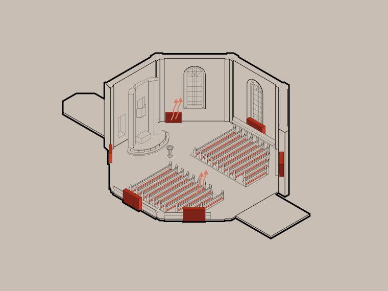 Frederiksberg Kirke diagram over varmesystem Elgaard Architecture