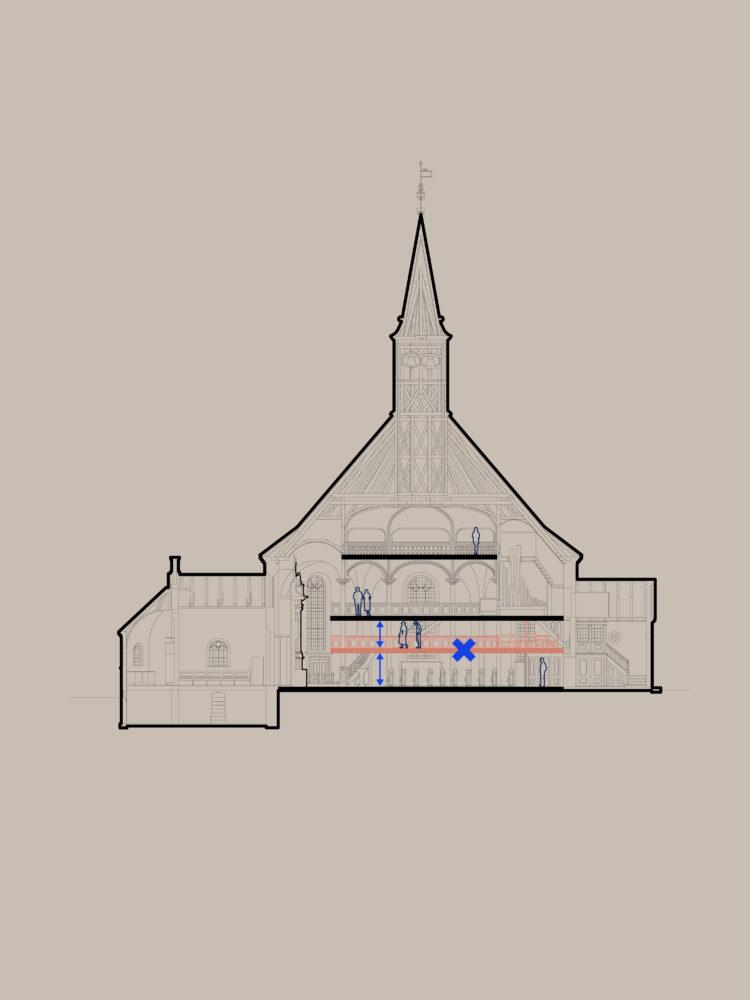 Frederiksberg Kirke manglende udsyn før fjernelse af pulpituretage Elgaard Architecture