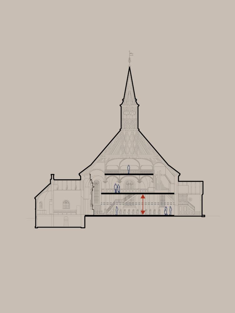Frederiksberg Kirke øget udsyn efter fjernelse af pulpituretage Elgaard Architecture