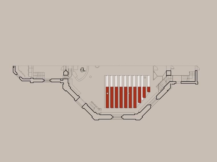 Frederiksberg Kirke diagram over stolestaders længdeøgning Elgaard Architecture