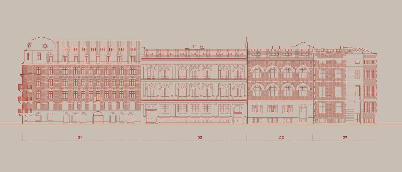 Havnegade 21-27 eksisterende sydfacade Elgaard Architecture