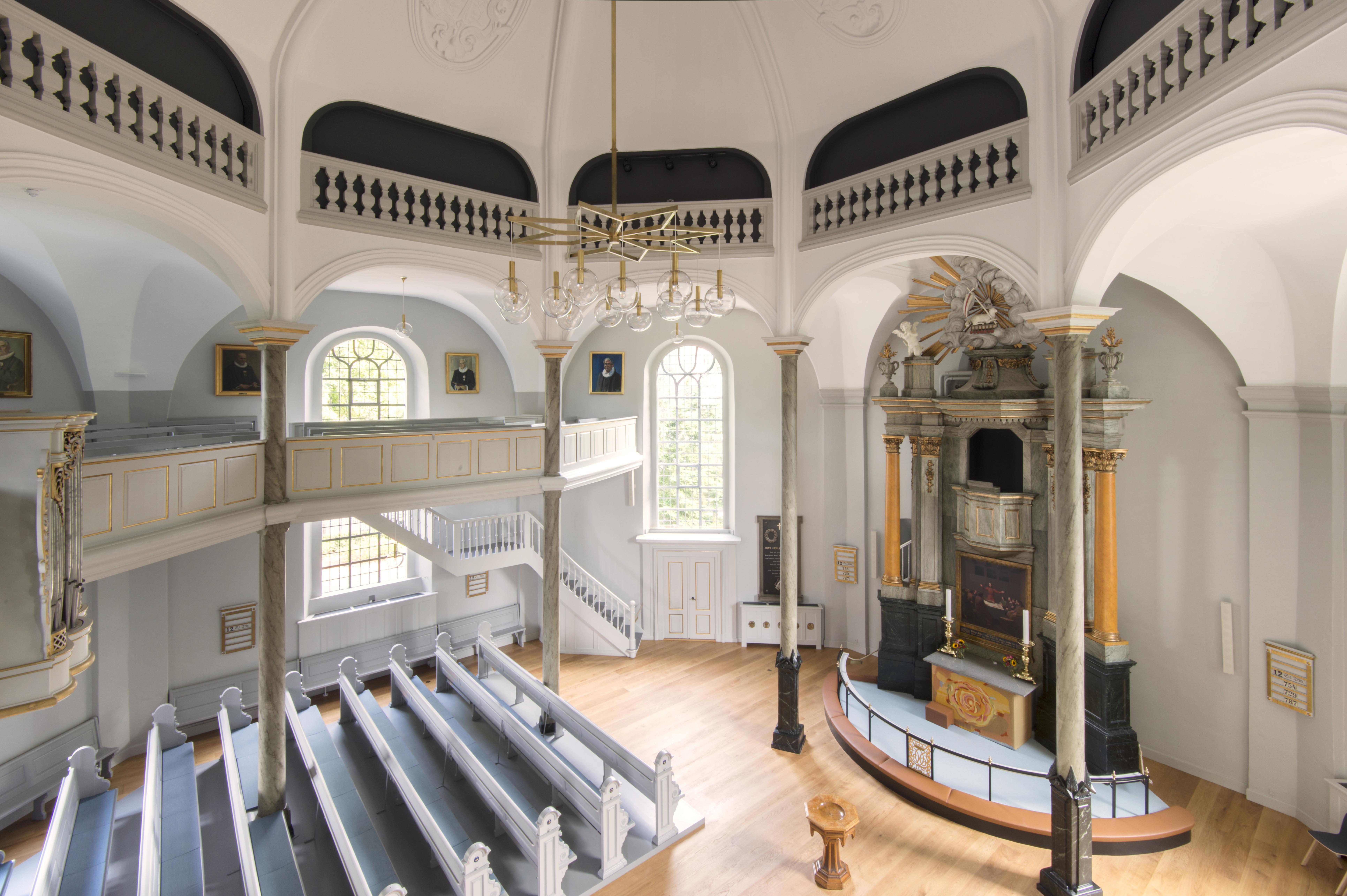Frederiksberg Church interior after restoration Elgaard Architecture